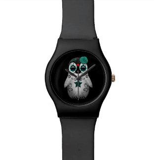 Día azul del negro muerto del pingüino del cráneo relojes de mano