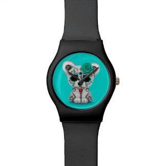 Día azul del oso muerto del cráneo del azúcar reloj de mano