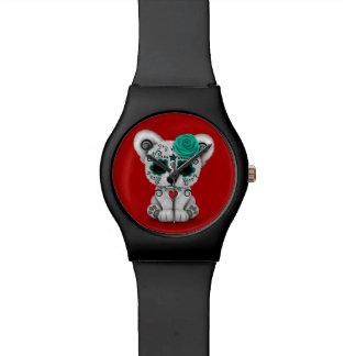 Día azul del rojo muerto del oso del cráneo del reloj de mano