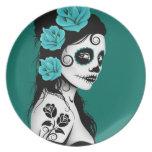 Día azul del trullo del chica muerto del cráneo de platos