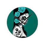 Día azul del trullo del chica muerto del cráneo de reloj