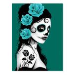 Día azul del trullo del chica muerto del cráneo de tarjeta postal
