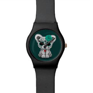 Día azul del trullo muerto del oso del cráneo del relojes de mano
