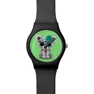Día azul del verde muerto del oso del cráneo del relojes de pulsera