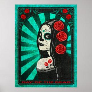 Día azul del vintage del chica muerto posters
