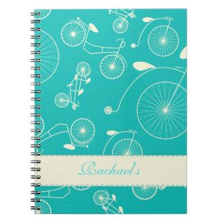 Día azul del vintage en la bicicleta del parque notebook