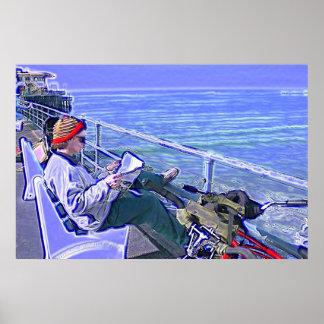 Día azul en el embarcadero póster