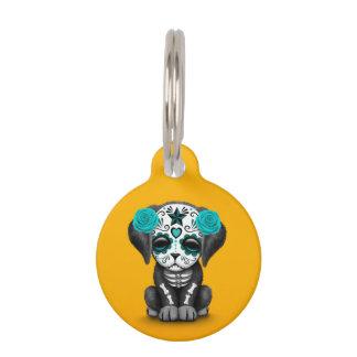 Día azul lindo del amarillo muerto del perro de placas de mascota