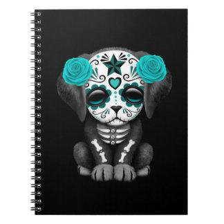 Día azul lindo del negro muerto del perro de libro de apuntes con espiral
