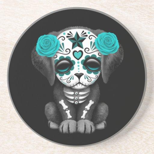Día azul lindo del negro muerto del perro de posavasos diseño