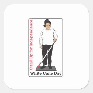 Día blanco del bastón pegatina cuadrada