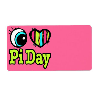 Día brillante del amor pi del corazón I del ojo Etiqueta De Envío