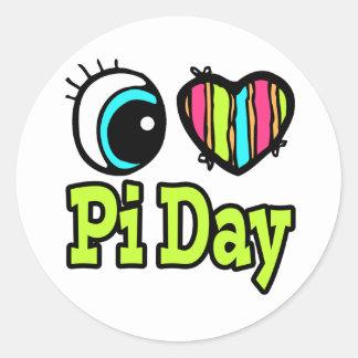 Día brillante del amor pi del corazón I del ojo Pegatina Redonda