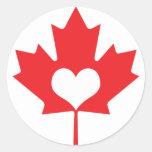 Día canadiense clásico de Canadá de la hoja de Pegatina Redonda