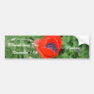 Día canadiense noviembre de la conmemoración+11mo  pegatina de parachoque