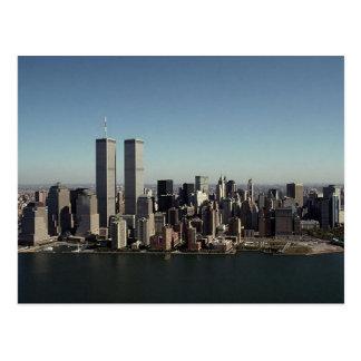 Día claro NYC de las torres gemelas de la postal W