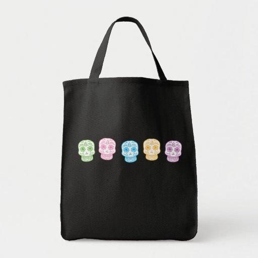 Día colorido de los cráneos muertos bolsas de mano