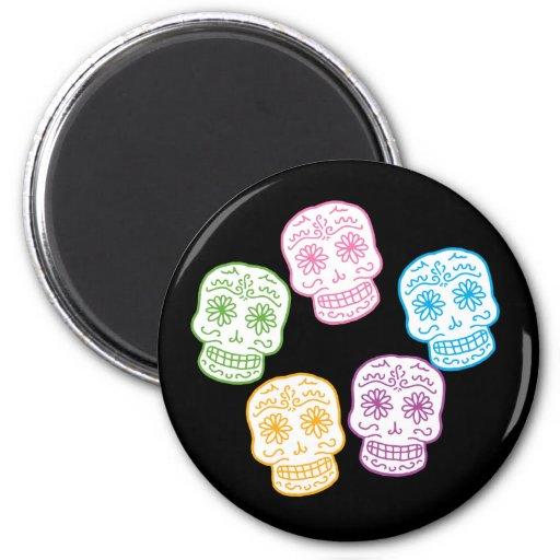 Día colorido de los cráneos muertos imanes para frigoríficos