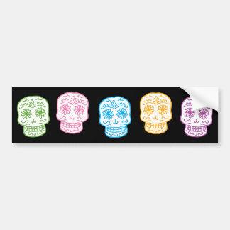 Día colorido de los cráneos muertos pegatina para auto