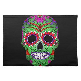Día colorido del cráneo del azúcar de los muertos manteles individuales