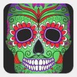 Día colorido del cráneo del azúcar de los muertos pegatinas cuadradases