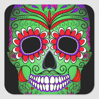 Día colorido del cráneo del azúcar de los muertos pegatina cuadrada