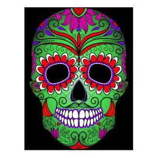 Día colorido del cráneo del azúcar de los muertos tarjetas postales