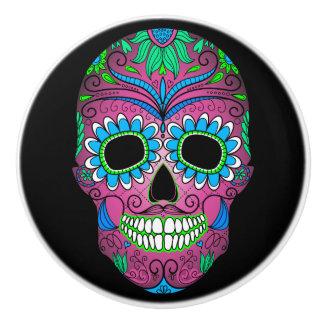 Día colorido del cráneo muerto del azúcar del pomo de cerámica