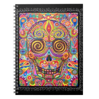 Día colorido del cuaderno del cráneo del azúcar de