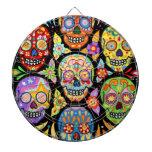 Día colorido del Dartboard de los cráneos del azúc Tablero De Dardos