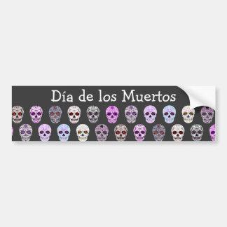 Día colorido del modelo muerto del cráneo del azúc pegatina para auto
