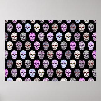 Día colorido del modelo muerto del cráneo del azúc posters