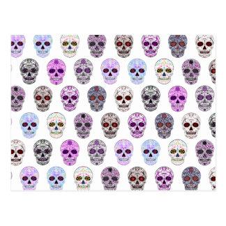 Día colorido del modelo muerto del cráneo del postal