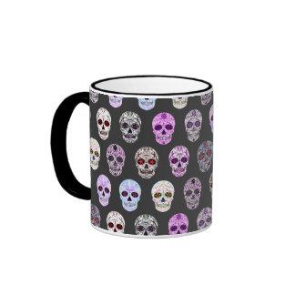 Día colorido del modelo muerto del cráneo del taza de dos colores