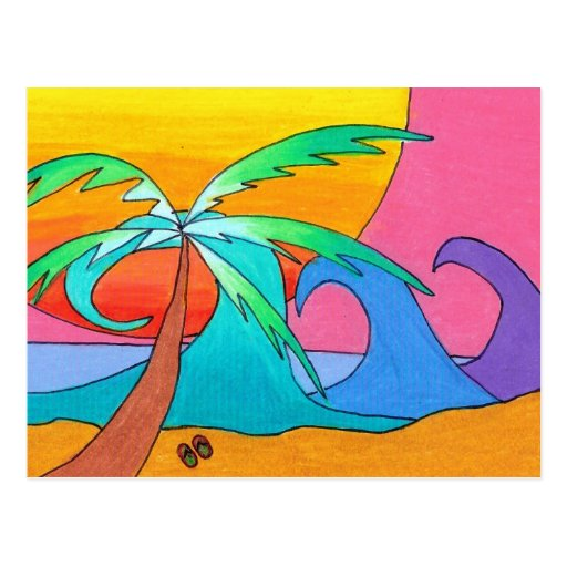 Día con playas tarjetas postales
