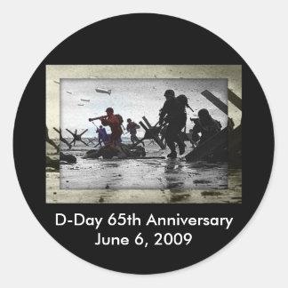 Día D 65.o aniversario 6 de junio de 2009 Pegatina Redonda