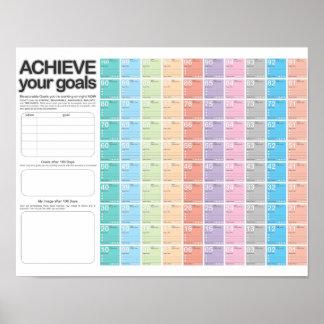 Día D del calendario del planeamiento de 100 días Posters