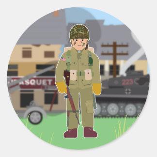 Día D del paracaidista de los E.E.U.U. (historia Pegatina Redonda