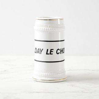 Día D el choque, señal de tráfico, Francia Jarra De Cerveza