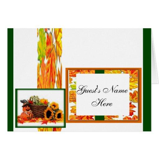 Día de Acción de Gracias, calabaza, calabaza, gira Tarjetas