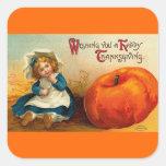 Día de Acción de Gracias feliz del vintage Pegatina Cuadrada
