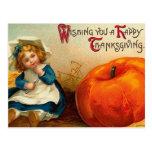 Día de Acción de Gracias feliz del vintage Postal