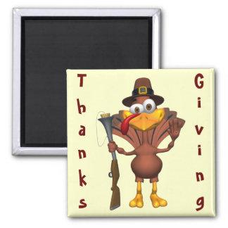 Día de Acción de Gracias feliz Turquía Imán Cuadrado