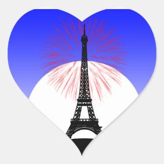 Día de Bastille París Pegatina En Forma De Corazón