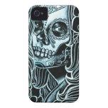 Día de Bella Morte del chica muerto del cráneo del iPhone 4 Case-Mate Funda