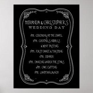 Día de boda de la pizarra del vintage de horario póster