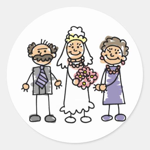 Día de boda de los padres de las novias antes de pegatina redonda