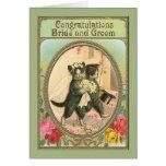 Día de boda de novia y del novio del gato de la felicitaciones