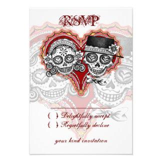Día de boda del cráneo del azúcar de las tarjetas invitación personalizada