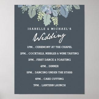 Día de boda del vintage de las floraciones del póster